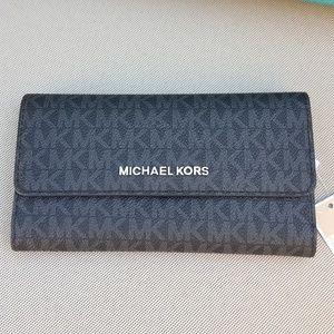 NWT Michael Kors JS trifold wallet black